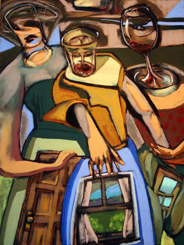 Urban Happy Hour is a collaborative improvisation by the two artists Ron Schmitt and Ric Hall.    The paintings are created without plan or forethought, while working side-by-side, painting simultaneously.     We have been working in this format since 1983.